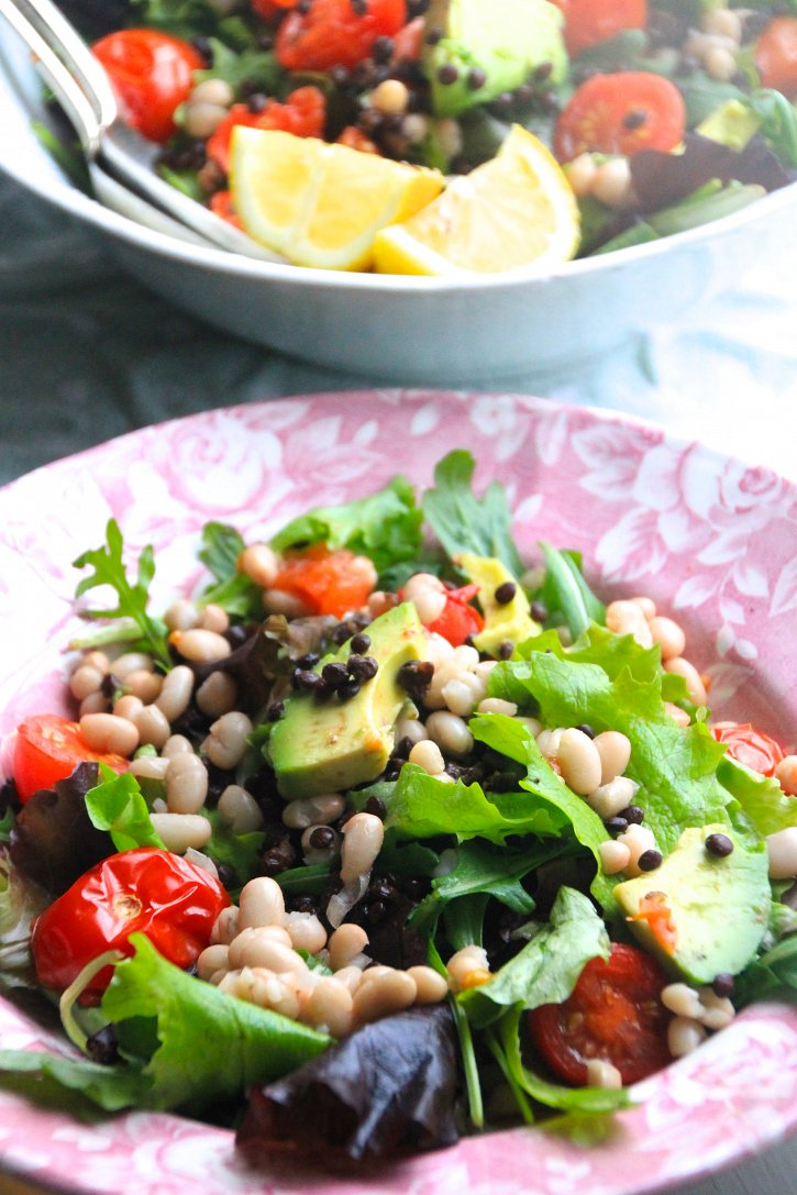beluga lentil white bean salad naturally sassy. Black Bedroom Furniture Sets. Home Design Ideas