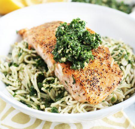 Oven Baked Salmon with Pesto Spaghetti_4671