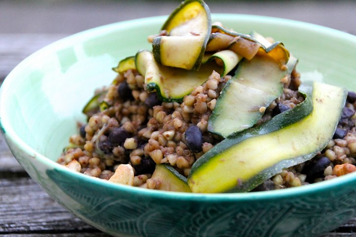 Miso Buckwheat with Black Beans, Courgette & Lime