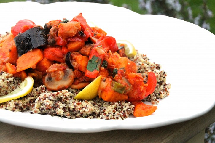 Aubergine & Sweet Potato with Lemon Quinoa