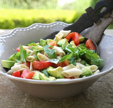 Tomato, Basil & Avocado Pasta Salad