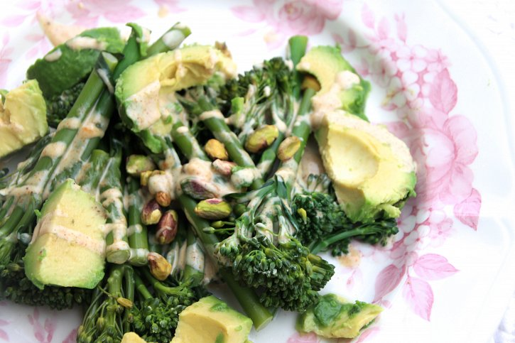 Broccoli & Avocado Salad with an Almond Butter-Lime Dressing