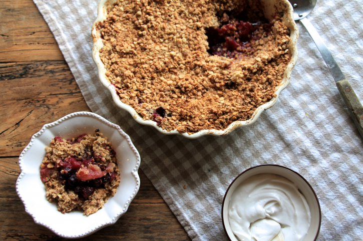 Apple, Blueberry & Cinnamon Crumble with a Whipped Coconut Cream