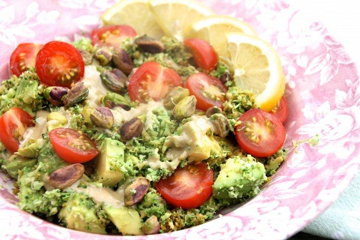 Broccoli Rice with Avocado & Toasted Pistachios