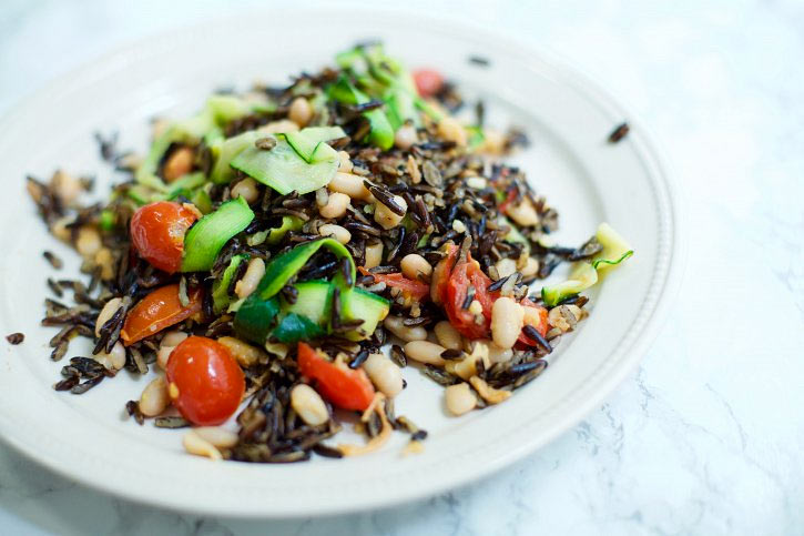 Wild Rice with Garlicky White Bean & Courgette Ribbons