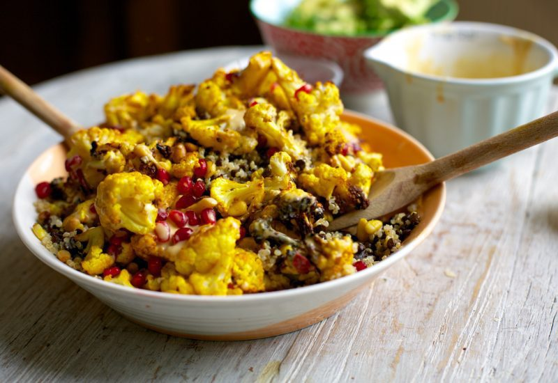 Turmeric Roasted Cauliflower, Quinoa + Lentil Bowl