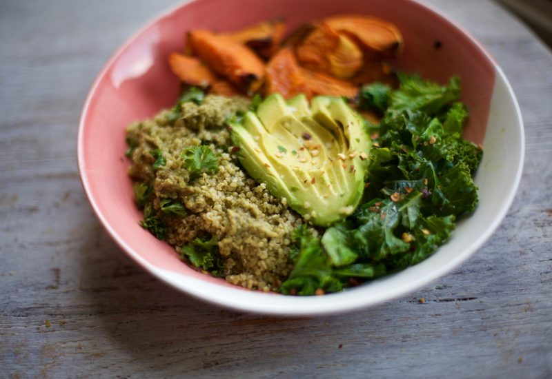 Pesto Quinoa, Sweet Potato, Kale & Avo Bowl