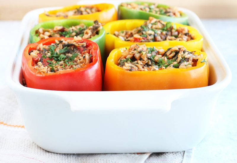 Brown Rice, Spinach and Sun Dried Tomato Stuffed Peppers