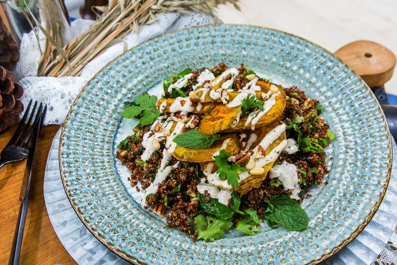 Roasted Pumpkin And Crunchy Red Quinoa Salad With Mint Tahini Dressing Naturally Sassy